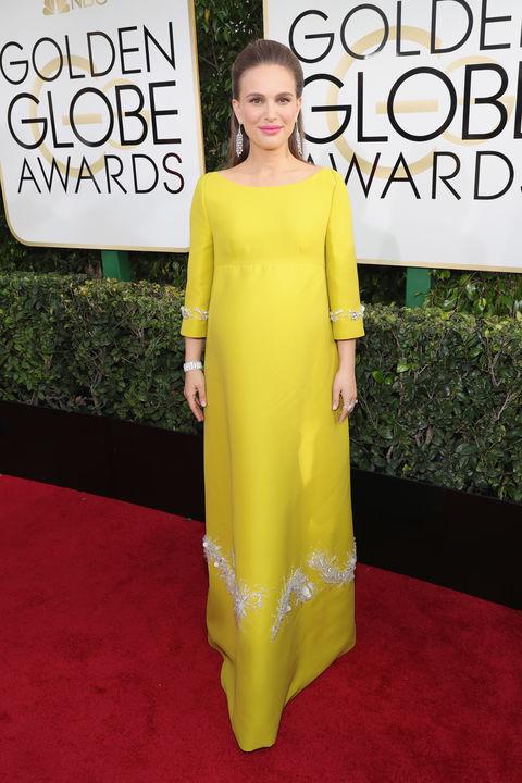 Natalie Portman in a vintage Prada dress and Tiffany & Co. jewelry