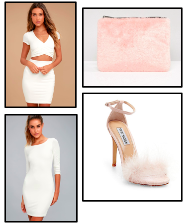 Get the   look...  - For a similar look, Steven Madden has furry pink sandal heels, Asos has various pink and fluffy accessories to choose from. For a simple white dress Lulus.com has a large selection.Click here to shop: Dresses, Heels, Clutches.