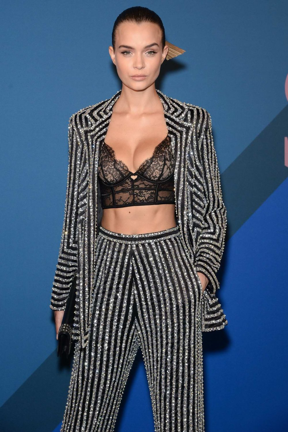 Josephine Skriver - This outfit is an unique twist on your average pantsuit.