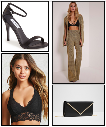 Get the look... - A similar look can be found on the website, prettylittlething.com. Forever 21 has tons of bralets that would go great with the pantsuit. The shoes are Steve Madden and the clutch is from Aldo shoes.Click here to shop:Pantsuits, Heels, Bralet, and Clutches.