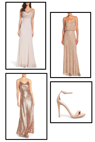 Get the look... - To create this look check out Nordstrom for an array of elegant and simple dresses.To complete this look Steve Madden has the perfect nude heel.Click here to shop:Dressesand Heels.