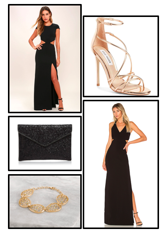 Get the Look... - To recreate this look you can purchase long black dresses with slits from revolve.com and Lulus.com. Gold accessories can be purchased at Steve Madden, bloomingdales and Cerimani.Click here to shop: Dresses, Heels, Accessories, and Clutches.