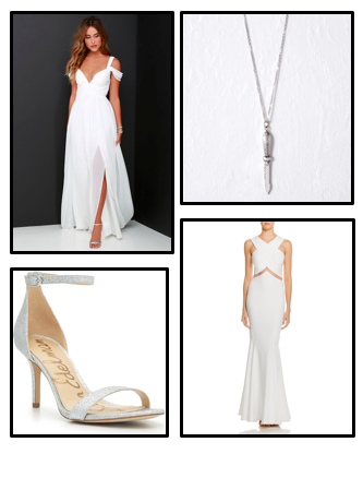 Get the Look... - To find this look, Neiman Marcus has tons of white flowy dresses.   Sam Eldman heels can be purchased on Nordstrom.com. To accessorize, The9thMuse has tons of unique pieces to complete your outfits. Click here to shop: Dresses, Heels, and Accessories.