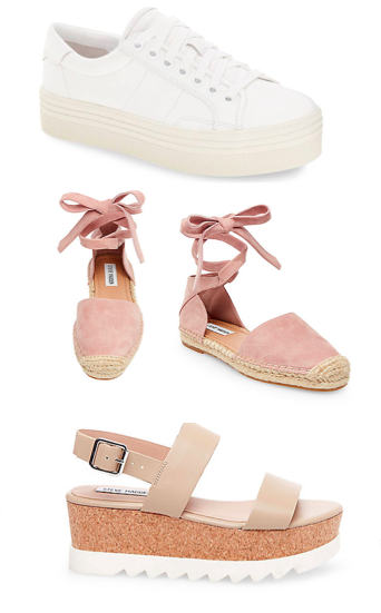 - Platform sneakers and sandals are my favs because they dress up any outfit, but won't have your feet screaming in pain from wearing heels.Espadrilles go great with any summer outfit and are super comfy!
