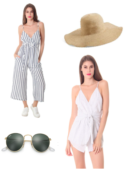 - Striped rompers and jumpsuits scream summer. The trend is everywhere! I love how they are light weight which is great for a hot summer day.Floppy hats are one of my personal favs. They pair well with any bathing suit!Grab a pair of these oval sunglasses! They match every outfit while complimenting every face type. Enjoy the last days of summer!