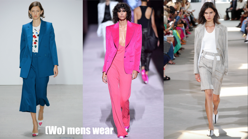 Seen at Tom Ford/ Tibi/ Oscar de la Renta  Time to man up, because two piece suits were everywhere on the runway this season. Pair with a white top, or rock a totally monochromatic look. And to strike the perfect balance of masculine and feminine, chose a bright color, or a shorter flirty pant.