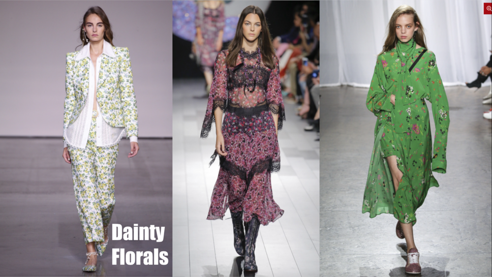 Seen at Zimmermann/ Anna sui/ Zadig & Voltaire  Florals… For spring? Groundbreaking, we know. This year we are seeing specifically mini floral patterns. With a smaller pattern, the flowers can be present without being overwhelming. Feel free to rock these blooms head to toe without worrying about getting lost in the print.