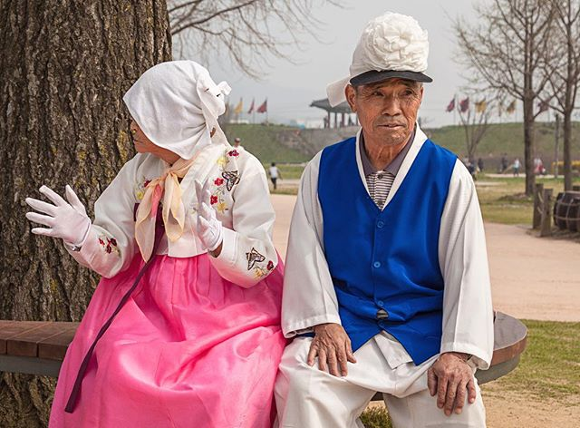 South Korean seniors in performance costumes - Haemi Fortress. I love leaving the city behind and catching glimpses of traditional culture. #korea #koreanfashion #resourcetravel #koreanculture #imagineyourkorea