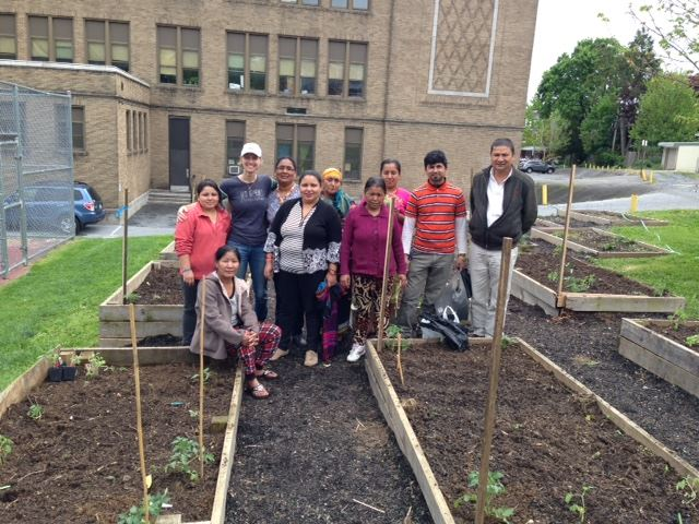 Jennifer and a few refugee families show off their hard work of planting gardens at Reynolds Middle School.
