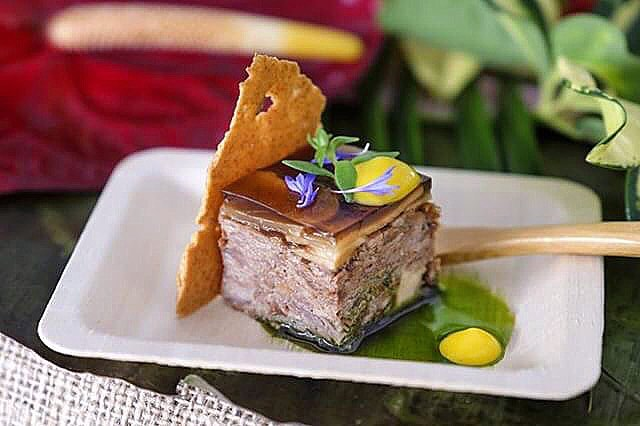 Duck confit terrine with wild mushroom gelee, pickled sunchokes and smoked duck egg yolk from @foie_life this past Sunday @david_coupe @ze_chef Photo by @fujifilmgirl #duckduckgoose #duckconfit #foielife #hotinthekitchen