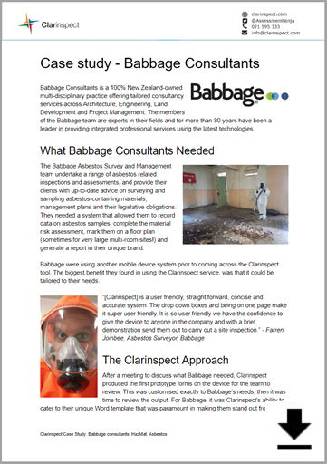 Click to download Babbage Casestudy