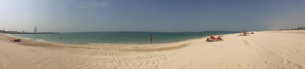 Stunning Kite Beach with the Burj Al Arab in the distance on the left / Dubai