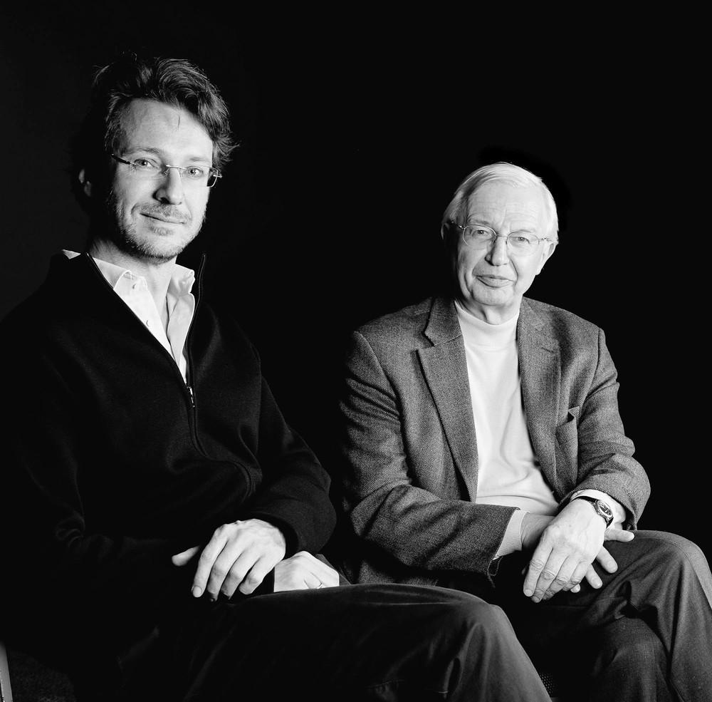 Le Chef d'orchestre Marc Albrecht et le Professeur Jean-Marie Lehn, prix Nobel de chimie en 1987, spécialiste de la chimie supramoléculaire