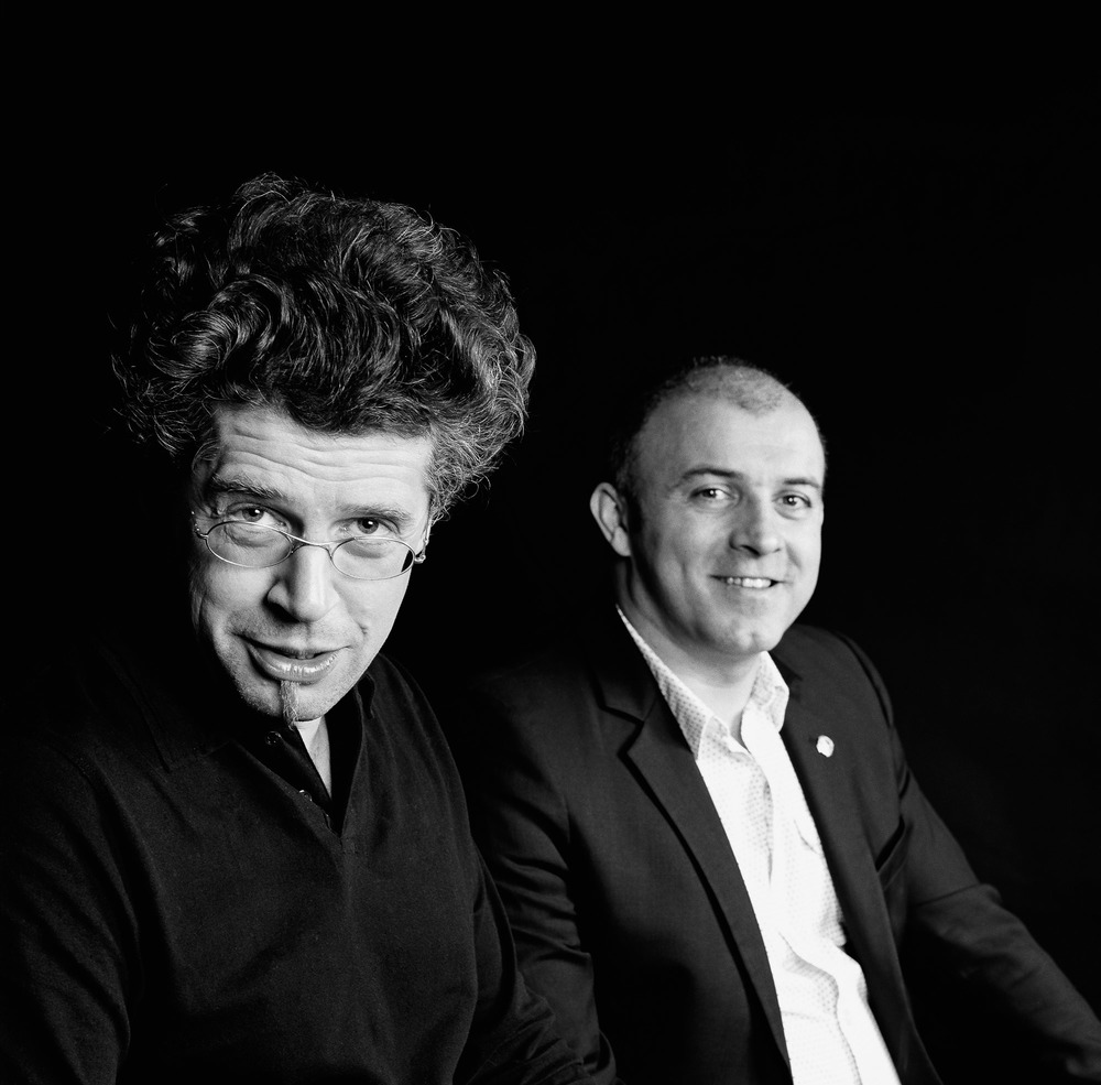 """Le musicien spécialiste des instruments rares Thomas Bloch et le Chef cuisinier du """"Chambard"""" à Kaysersberg Olivier Nasti"""
