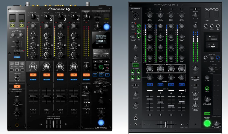 Really the X1800 should be tested alongside the DJM-900 nexus 2... but I do not have this mixer in my shop at the moment. The effects on the Pio are still superior, as is the detection algorithm for BPM data (IMHO).