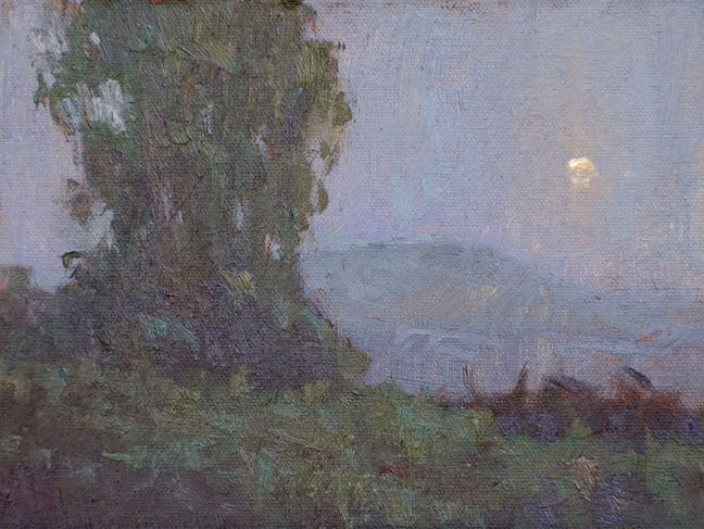"""Moon over Carpinteria I"" / 6x8 / Oil on Canvas Panel / Private Collection"