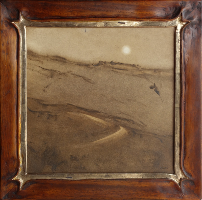 "Moon over Topa Topa in Sepia / 12"" x 12"" / Mahogany M Frame / Moon Gold"