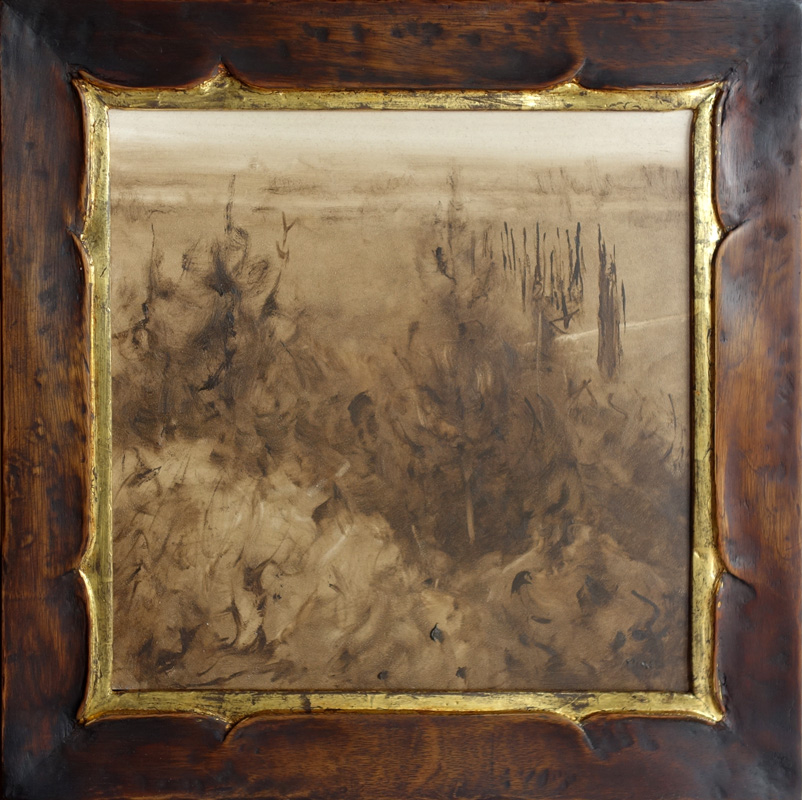 "Valley View in Sepia / 12"" x 12"" / Mahogany Frame / Cloud Lift Variation / Moon Gold"