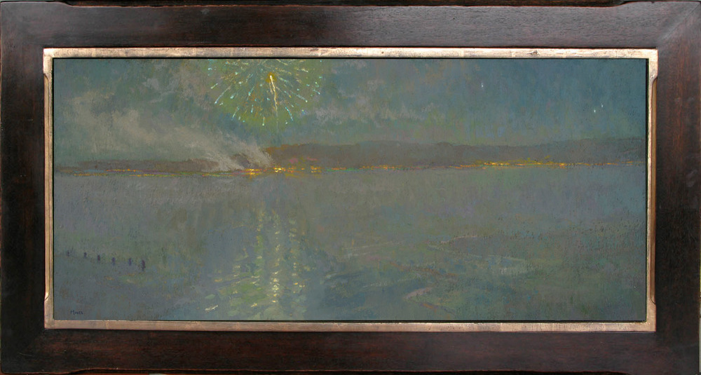 """Nocturne in Blue"" / 16"" x 36"" / Mahogany Frame / Moon Gold"