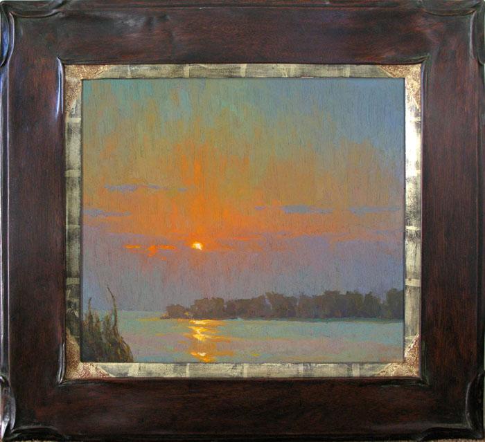 """Evening Bloom"" / 16x18 / Oil on Canvas Panel / Mahogany Frame 22k Liner"