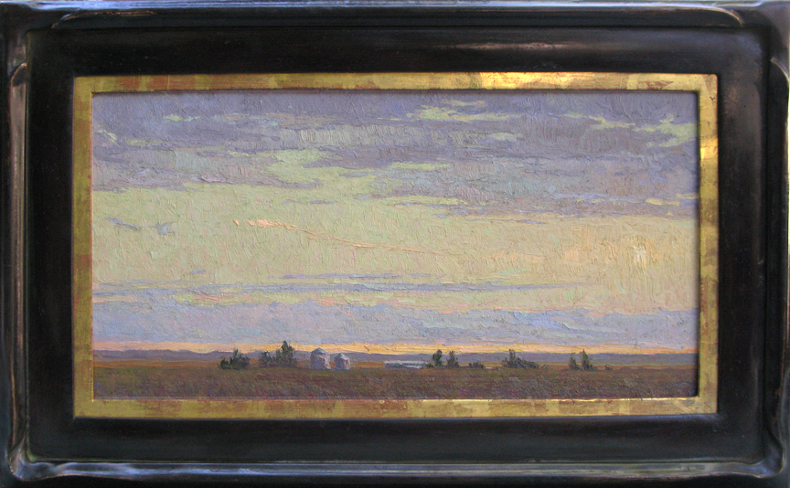 """Traveling Caravan"" / 12""x24"" / Oil on Canvas Panel / Private Collection / Mahogany Frame/ Moon Gold"