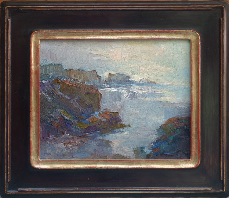 """Ocean Reflections"" / 8"" x 10"" / Oil on Panel / Polychrome Frame / 22k"