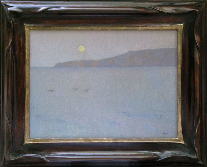 """Moon over Santa Rosa"" / 12"" x 16"" / Polychrome Piecrust Frame Lemon Gold"