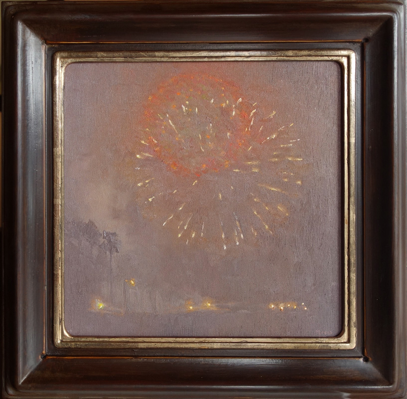 """Nocturne in Red-Orange"" / 12"" x 12"" / Polychrome Frame Moon Gold"