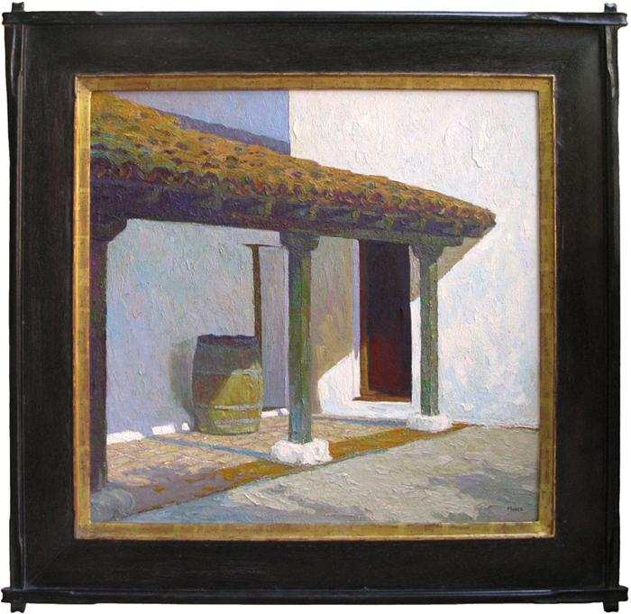"""El Presidio, Santa Barbara"" / 29"" x 30"" / Mahogany Frame / Mission Detail / 22k"