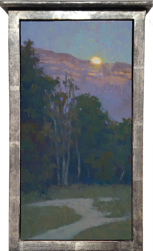 """Moon over Topa Topa"" / 12"" x 6"" / white gold tabernacle box frame"