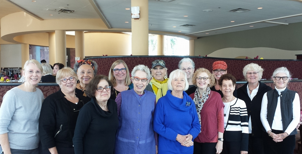 Pictured left to right: Diane Schmidt, Susan Klein, Eleanor Merritt, Ellen Mason, Margy Rich, Peppi Elona, Judy Just, Ruth Höök Colby, Judy Lyons Schneider, Jana Millstone, Evelyn McCorristin Peters, Madelaine Ginsberg, Jamie Friedli, Jacqueline Clark not pictured: Marty Hartman, Susie Covert, Janet Mishner, and Keiko Romerstein