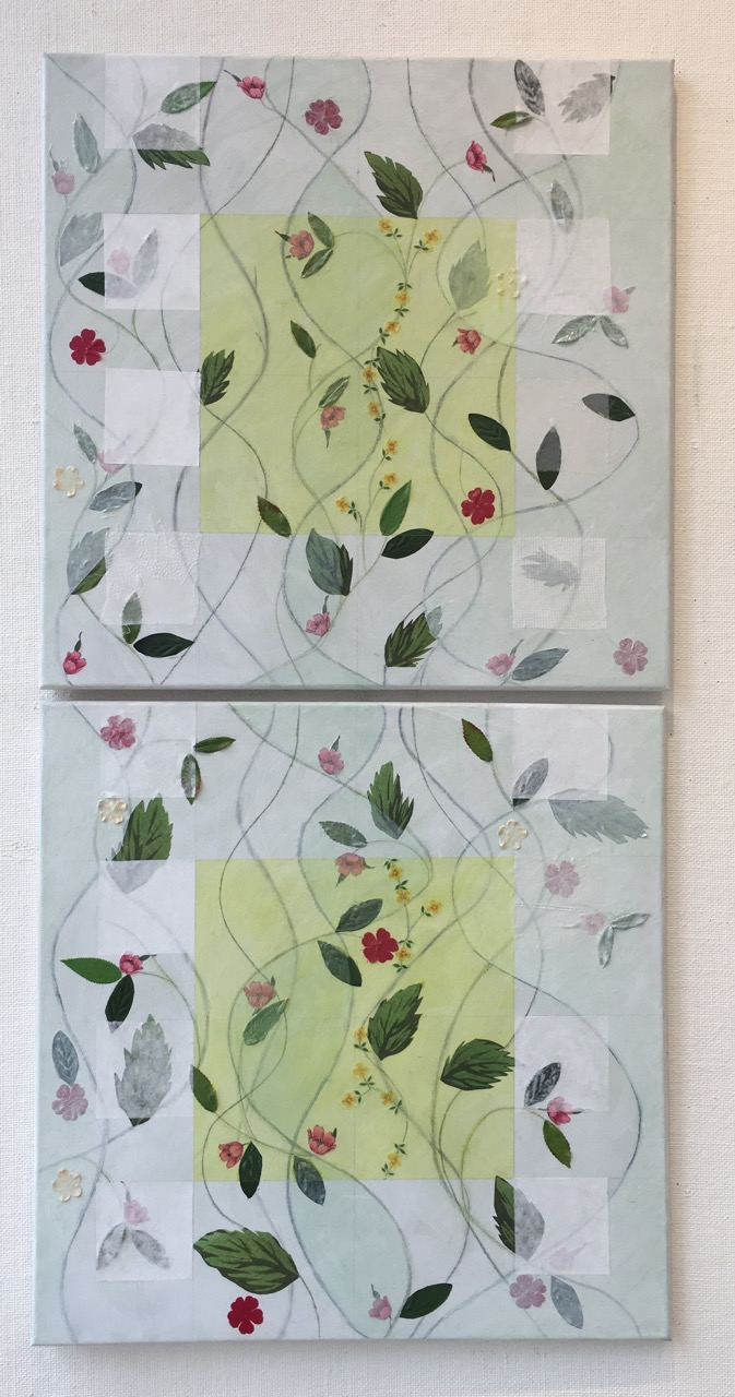 Weir Spring 36x18 2 canvases 18x18 silk flowers, leaves, paper, fabric, acrylic on canvas