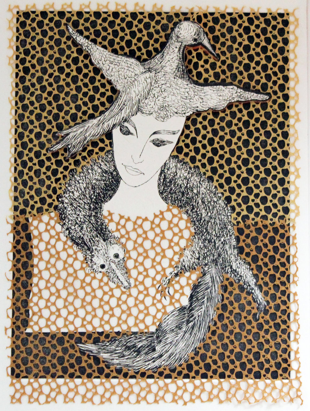 Bird Lady in Netted Fabric