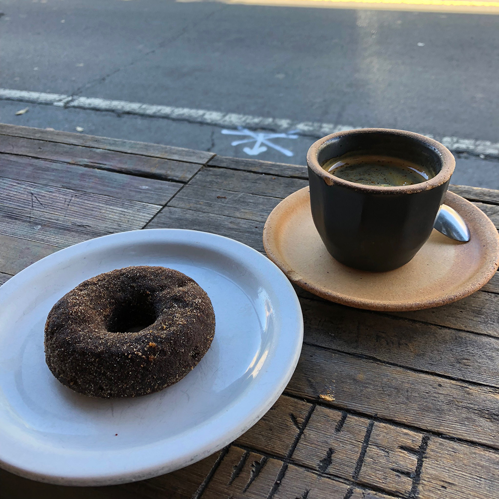 Four Barrel Coffee vegan donut and espresso