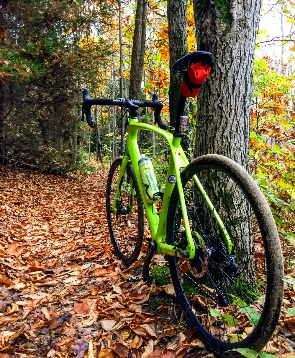 Having some single track fun with the Diverge rolling on slicks last fall...