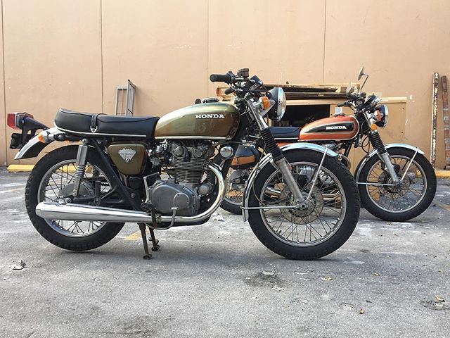 These two gems sitting pretty earlier today #honda #cb450 #cb550