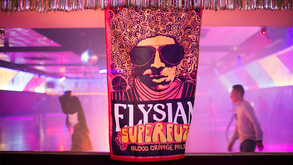Elysian's new Superfuzz Blood Orange Pale Ale took over Burbank's Moonlight Rollerway.