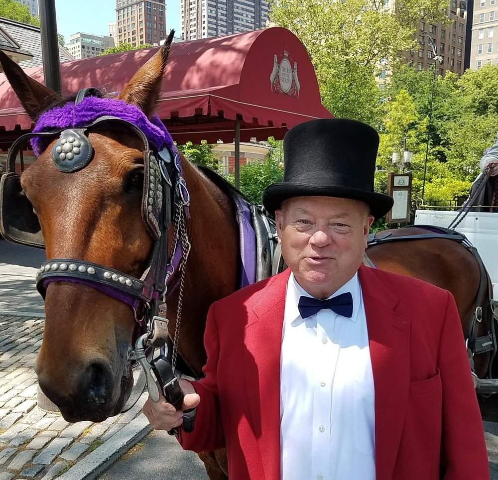 Neil Byrne with carriage horse Roger. Tavern on the Green, Central Park, 2017.