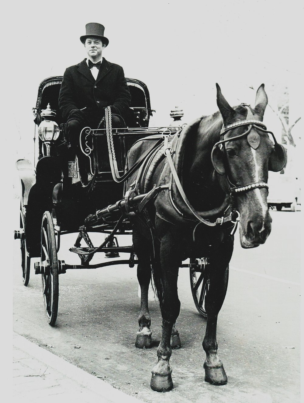 Neil Byrne and carriage horse PJ. Central Park South, 1976.