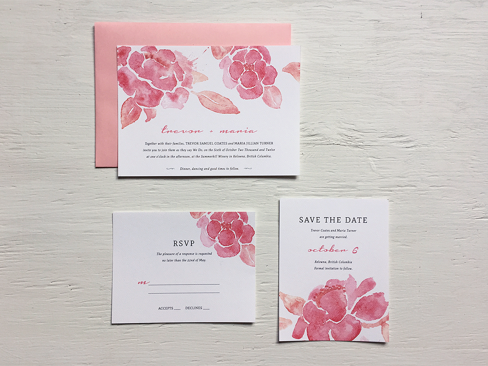 TREVOR + MARIA  Pink and Peach Floral Watercolor Wedding Invitations, RSVP and Save the Date