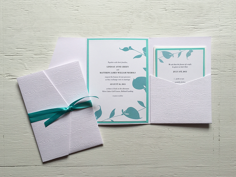 LINDSAY + MATT  Elegant Tiffany Blue and White Orchid Wedding Invitations and RSVP