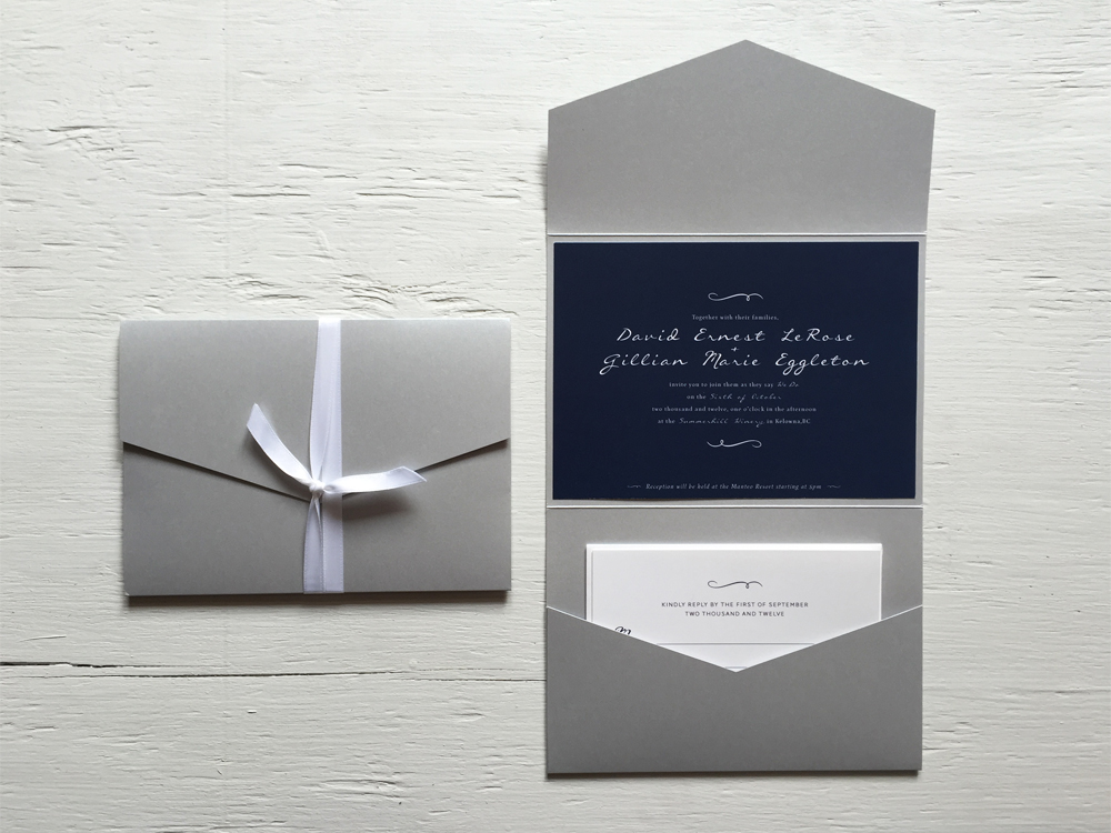 GILLIAN + DAVE  Classic Navy Blue and Silver Wedding Invitations and RSVP