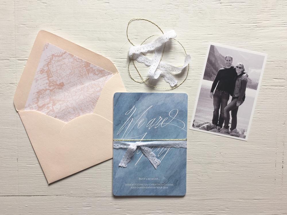 CHRISTINA + JAMES  Vintage Bohemian Dusty Blue and Blush Watercolor Wedding Invitations