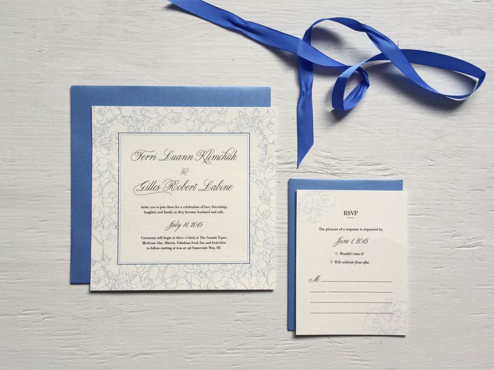 TERRI + GILLES  Classic and Elegant Cornflower Blue Square Wedding Invitations and RSVP