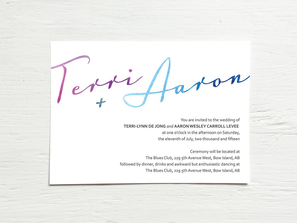 TERRI + AARON  Clean and Minimal Watercolor Wedding Invitations