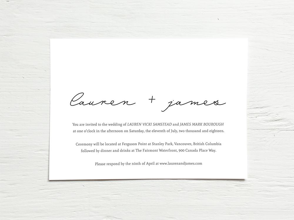 LAUREN + JAMES  Minimal, Modern, Black and White Wedding Invitations