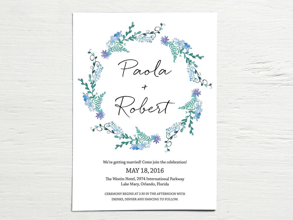 PAOLA + ROBERT  Natural, Bohemian, Floral Watercolor Wreath Wedding Invitations