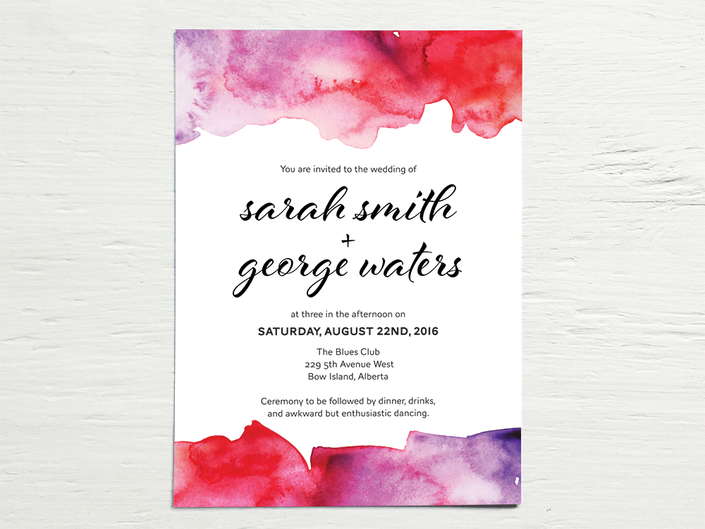 SARAH + GEORGE  Fun, Bright and Bold Watercolor Wedding Invitations