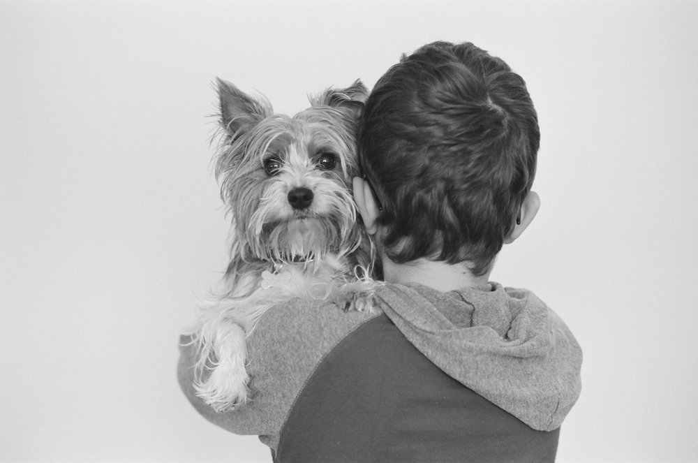 Boy holding his beloved yorkie dog over his shoulder during a portrait session in Fargo.