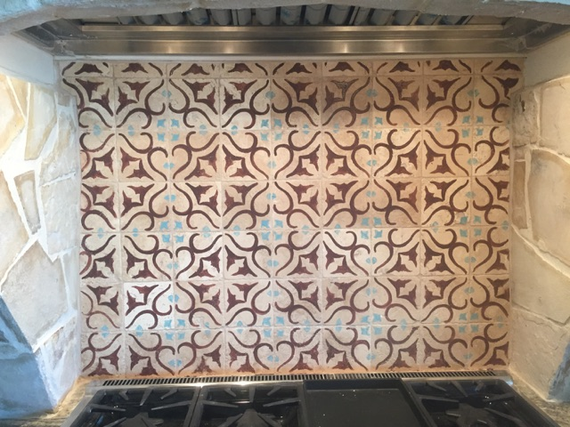 Detail shot of custom tile backsplash.